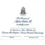 Engraved Flat Card, Blue Thermography (Raised Print) Font #9, Alpha Delta Pi