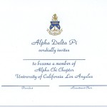 Engraved Flat Card Font #2, Blue Ink Alpha Delta Pi