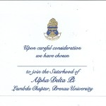 Engraved Flat Card, Blue Thermography (Raised Print) Font #9, Alpha Delta Pi Bid