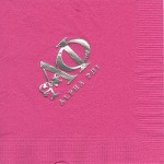Alpha Phi Napkin, National office Greek Letter design, Hot Pink Silver Foil