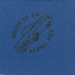 Alpha Phi Napkin, Dk Blue, Black Foil, Drive in to Alpha Phi Car Design