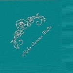 Napkin, Color discontinued, Silver Foil Flower String, Font Park Ave, Alpha Gamma Delta