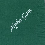 Alpha Gamma Delta dark green napkin, white foil Alpha Gam - font footed