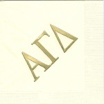 Alpha Gamma Delta Napkin, Ecru, Gold Foil Large Greek