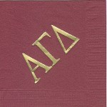 Alpha Gamma Delta Napkin, Wine, Gold Foil Extra Large Greek