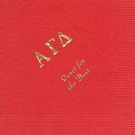 Alpha Gamma Delta Napkin, Red, Gold Foil Greek, Font PA