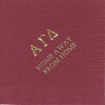 Alpha Gamma Delta Napkin, Wine, Gold Foil Greek, Font Garamond Caps