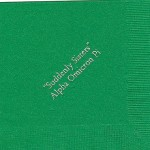 Napkin, color discontinued, Silver Foil, Font Garamond, Alpha Omicron Pi