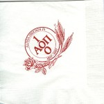 Napkin, White, Red Ink, Centennial Design, Alpha Omicron Pi