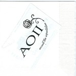 Alpha Omicron Pi napkin, mock-up new design