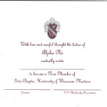 2-color engraved flat card, wine ink, Font #11, Alpha Phi