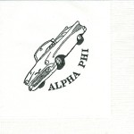 Napkin, white, black ink convertible die, Alpha Phi