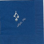 Napkin, Dk.Blue, Silver Foil, Musical Notes, Font Park Ave., Alpha Phi