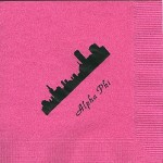 Napkin, Hot Pink, Black Foil, Skyline, Font Park Ave. Alpha Phi
