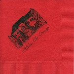 Napkin, Red, Black Ink, AXO House, Font PA Alpha Chi Omega