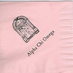 Napkin, Pink, Black Foil jukebox, Font Garamond, Alpha Chi Omega