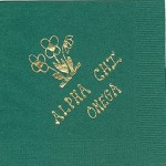 Alpha Chi Omega Napkin, Hunter Green, Gold Foil Flowers, Font Dot-to-Dot