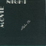 Alpha Chi Omega Napkin, Black, Silver Foil Movie Night, Font PA