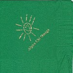 Alpha Chi Omega Napkin, color discontinued, Gold Foil Smiley, Font Garamond