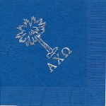 Alpha Chi Omega Napkins, Royal Blue, Silver Foil Palm Tree and AXO Greek