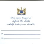 2-Color Engraved Flat Card, Reflex Blue Thermography, Font #9, Alpha Xi Delta general invitation