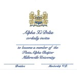 Engraved Flat Card, Blue Thermography (raised print)Font #9, Alpha Xi Delta bid