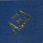 Alpha Xi Delta x-large Greek letters only. Gold foil on navy napkin