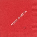 Alpha Xi Delta napkin, Red, White Foil, Font Garamond Caps