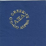 Napkin, Dark Blue, Gold Foil Go Greek, Alpha Xi Delta