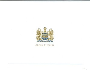 2-color steel die engraved fold-over card - Alpha Xi Delta