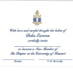 Engraved Flat Card, Blue Thermography (raised print) Font #9, Delta Gamma bid