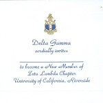 Engraved Flat Card, Blue Thermography (raised print) Font #2, Delta Gamma bid