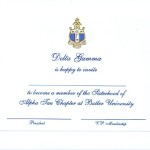 Engraved Flat Card, Blue Thermography (raised print)Font #8, Delta Gamma bid
