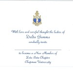 Engraved Flat Card, Blue Thermography (raised print)Font #2, Delta Gamma bid