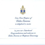 Engraved Flat Card, Blue Thermography (raised print)Font #9, Delta Gamma bid