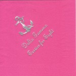 Hot Pink Delta Gamma napkin with silver foil Service for Sight