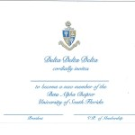 3-color Engraved Flat Card, P.Blue Thermography (raised print) Font #9, Delta Delta Delta bid