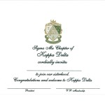 Kappa Delta 3-color engraved flat card, olive thermography, Font #8