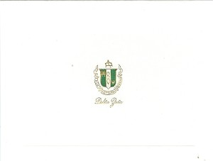 2-Color Steel Die Engraved Fold-Over Card Delta Zeta