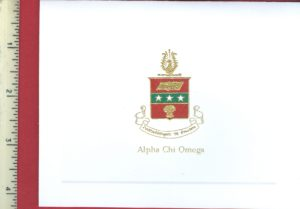 Alpha Chi Omega 3-color engraved fold-over card