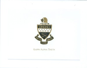 2-color engraved fold-over note card Kappa Alpha Theta