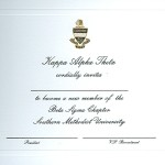 2-Color Engraved Flat Card, Font #5, Kappa Alpha Theta Bid Card