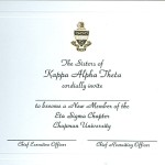 2-Color Engraved Flat Card, Font #2, Kappa Alpha Theta Bid Card