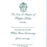 Raised Print Flat Card, Emerald Green Ink, Font #9, Vertical layout, Kappa Delta White Rose Invitation