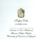 3-color engraved flat card, black ink, Font #8, Kappa Delta