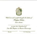 Engraved Flat Card, Olive Thermography (raised print) Font #9, Kappa Delta bid