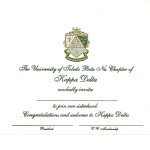 Engraved Flat Card, Olive Thermography (raised print) Font #8 Kappa Delta bid