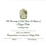 Engraved Flat Card, Olive Thermography (raised print) Font #8, Kappa Delta bid