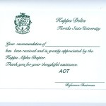 Kappa Delta Recommendation thank you card. Green one-color thermography on panel flat card font #9