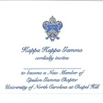 3-color Engraved Flat Card, R.Blue  Thermography (raised print) Font #9, Kappa Kappa Gamma bid